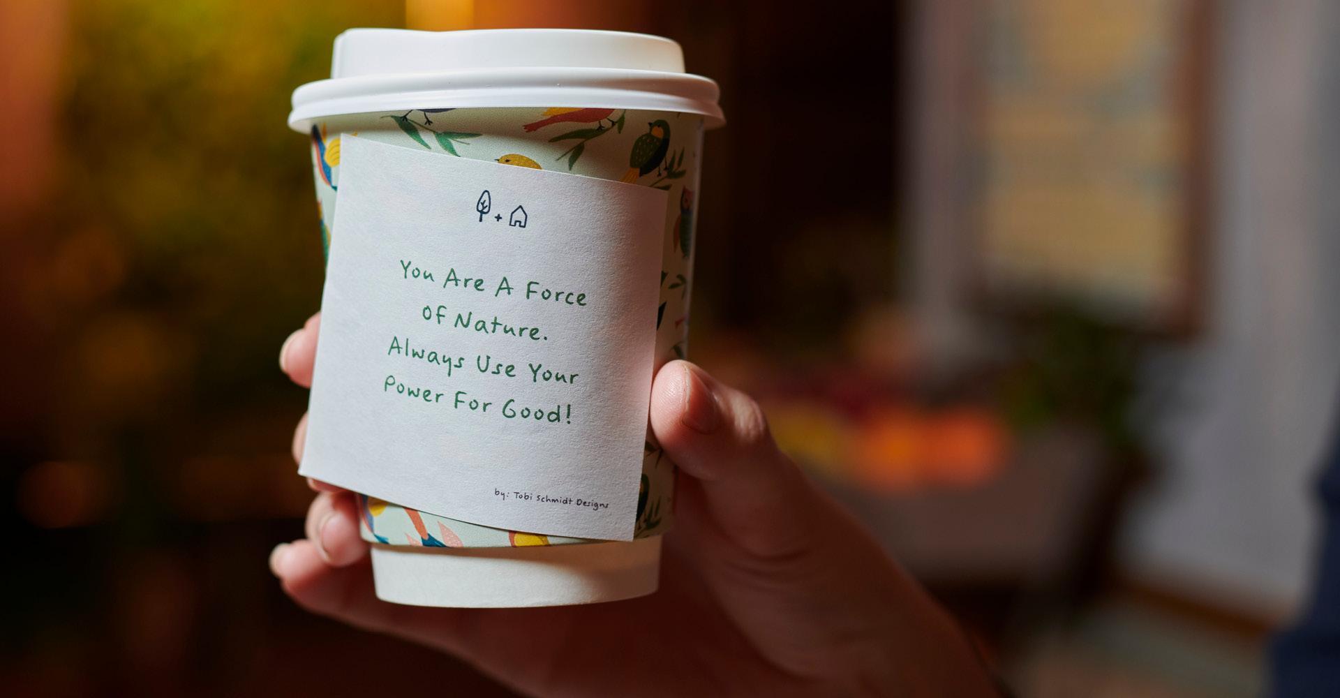 Backyard cafe coffee cup