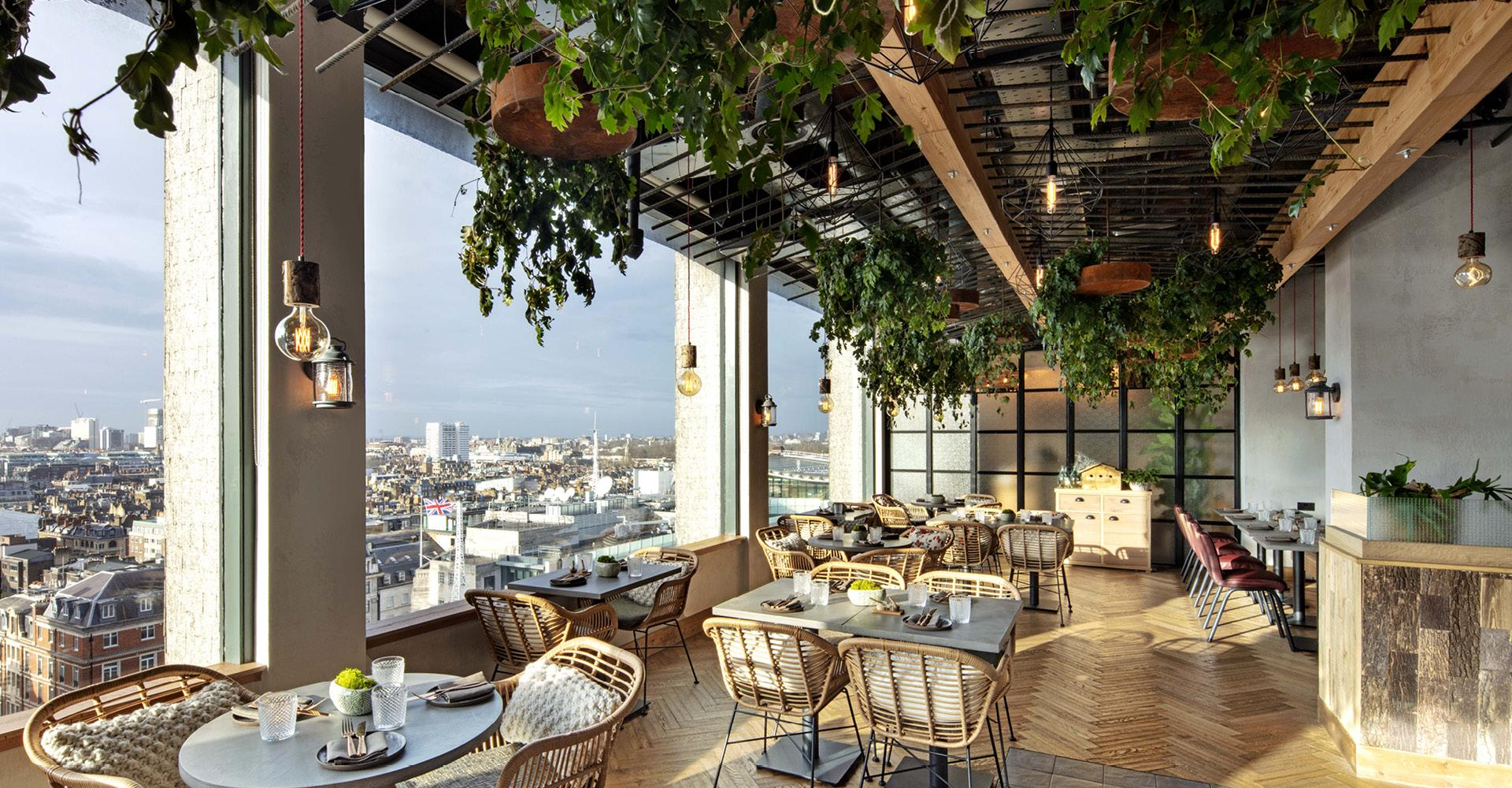 A view of the restaurant with wonderful views over London